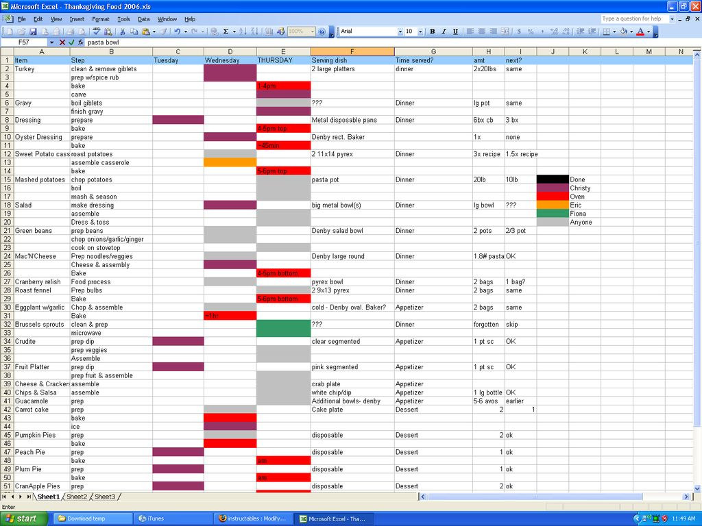 Holiday Spreadsheet Inside The Thanksgiving Calculator: How To Organize And Cook Holiday Dinner