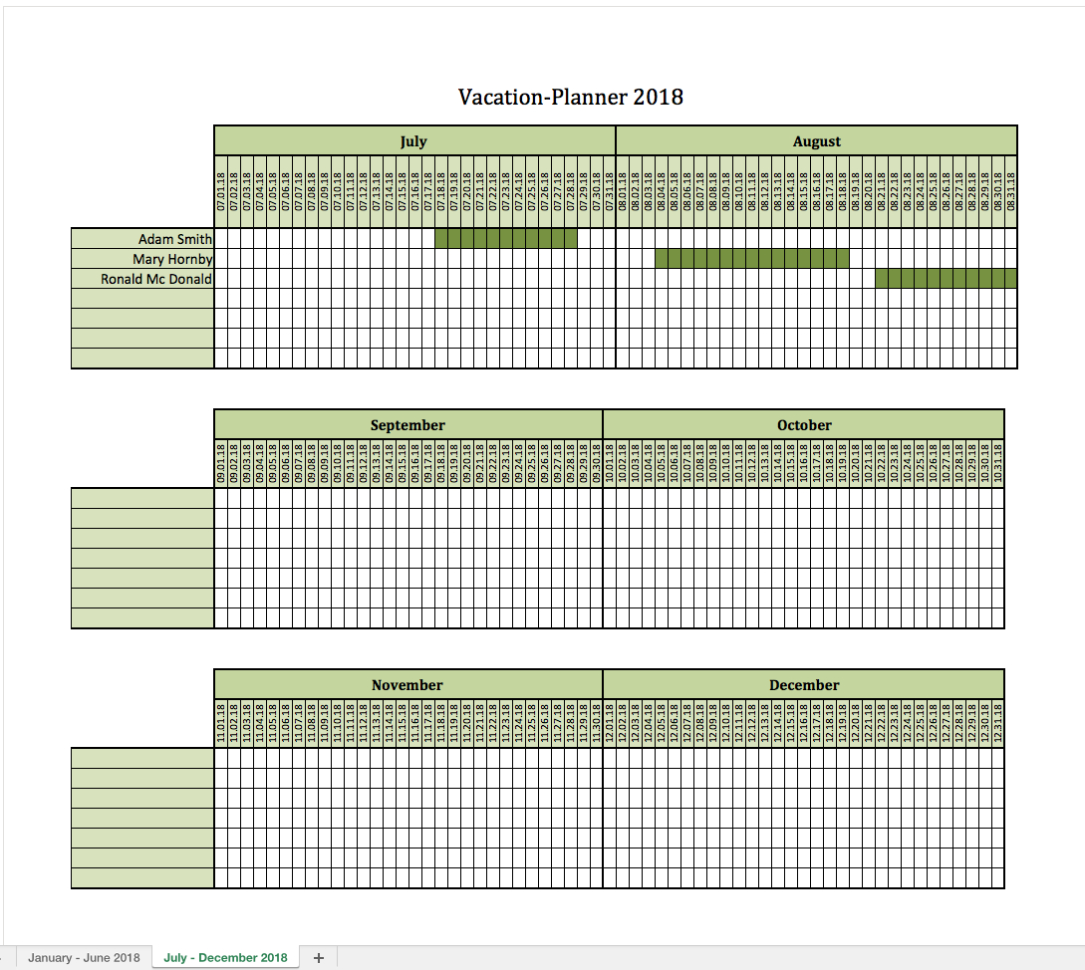 Holiday Spreadsheet Template 2018 Inside Vacationplanner 2018  Excel Templates For Every Purpose