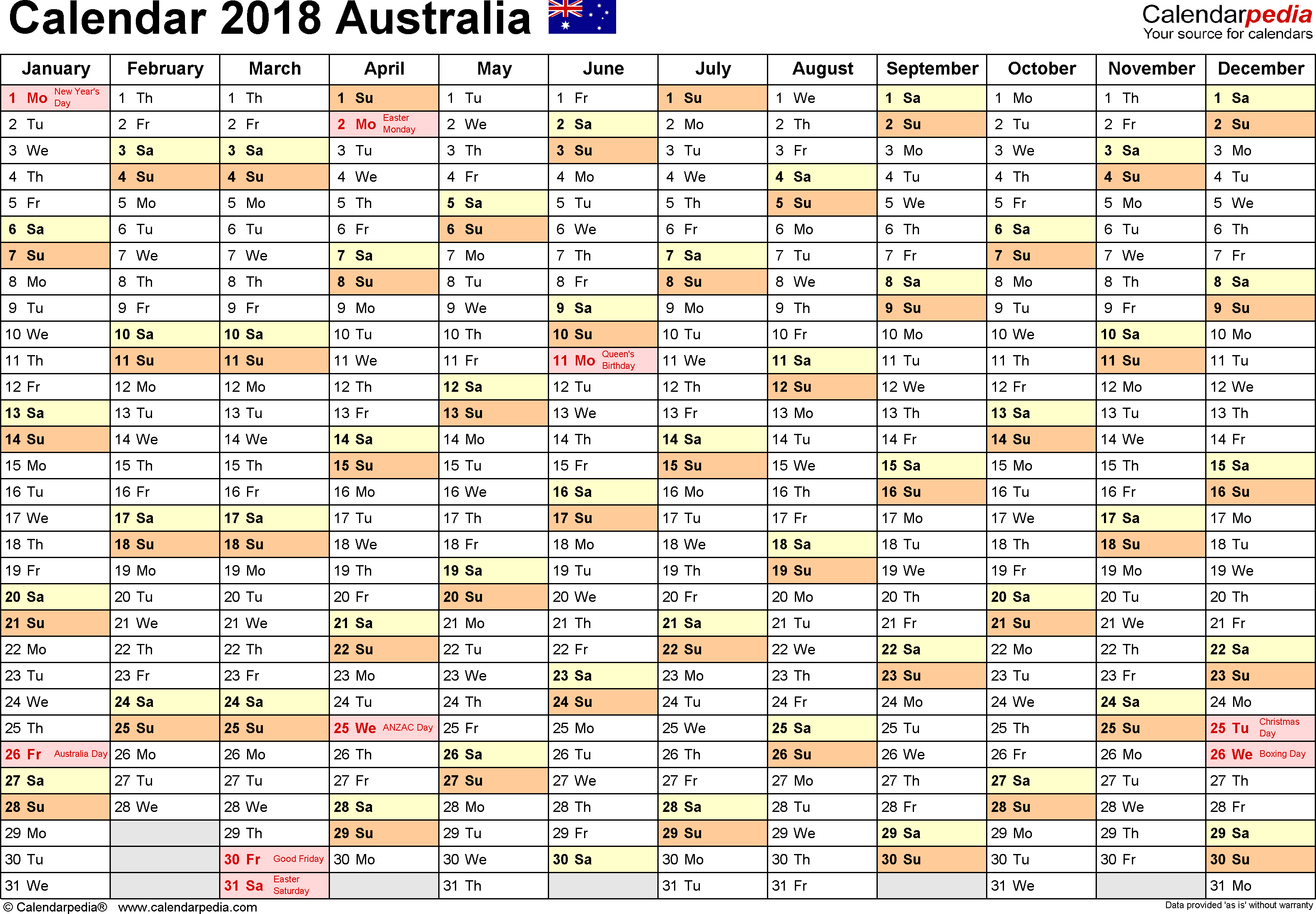 Holiday Spreadsheet Template 2018 Intended For Australia Calendar 2018  Free Printable Excel Templates