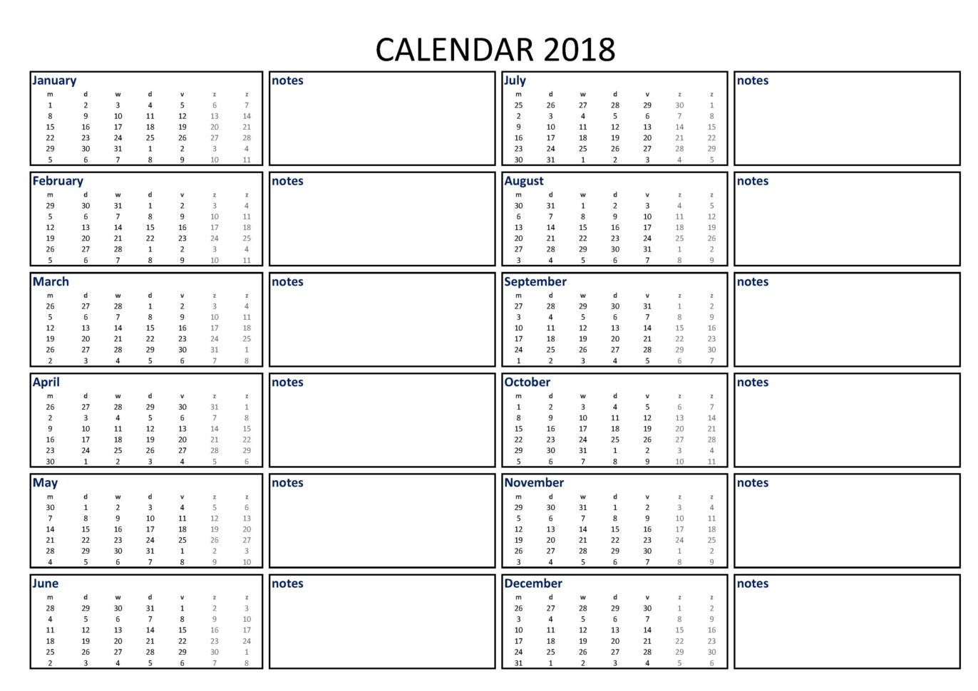 Holiday Spreadsheet Template 2018 Regarding Free 2018 Calendar Excel Template A3 With Notes  Templates At