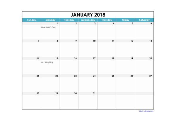 Holiday Spreadsheet Template 2018 Within Free Download 2018 Excel Calendar Large Boxes In The Grid Horizontal