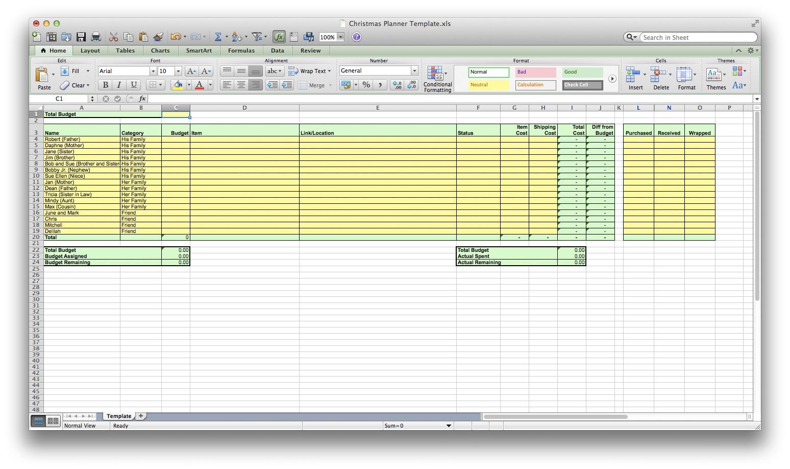 Holiday Spreadsheet With Regard To Holiday Organization  Jamaila Brinkley