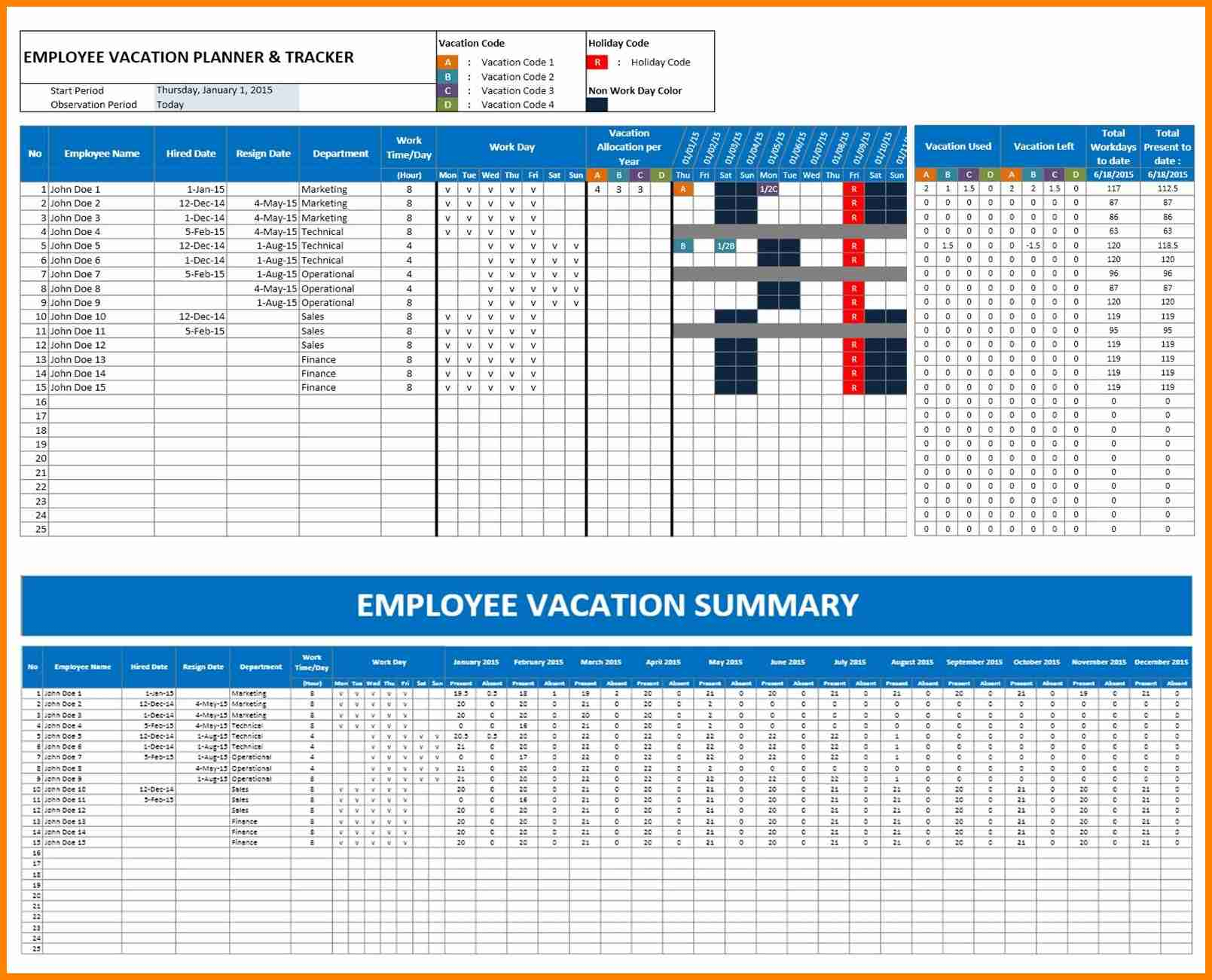 Holiday Tracking Spreadsheet Regarding 7  Employee Vacation Tracker Template  This Is Charlietrotter