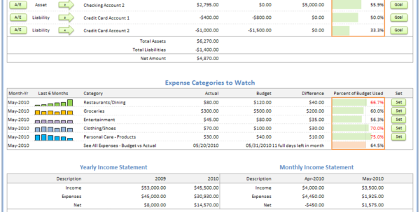 Home Accounts Spreadsheet Pertaining To Excel Budget Spreadsheet  Personal Budgeting Software  Checkbook