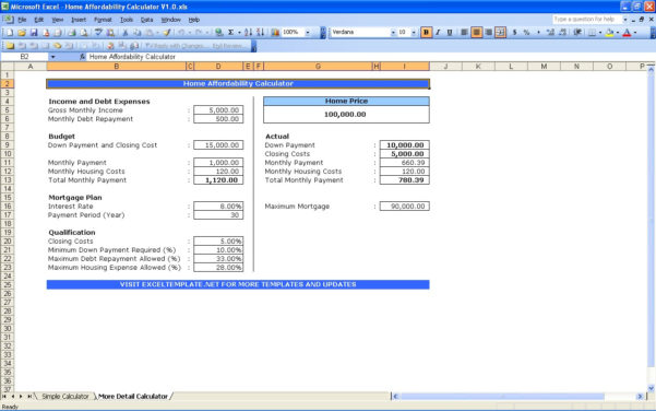 Home Affordability Spreadsheet Within House Affordability Calculators  Excel Templates