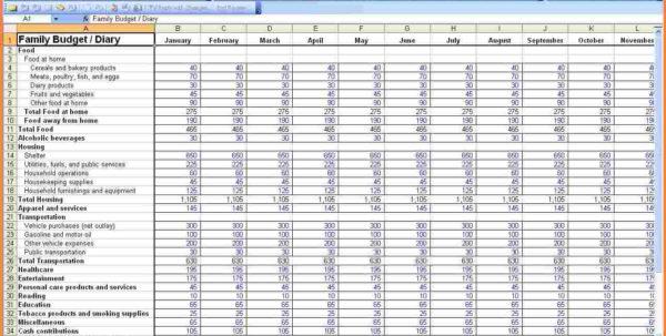 Home Budget Expenses Spreadsheet Inside Budget Worksheet Household Expense Template Family Expenses