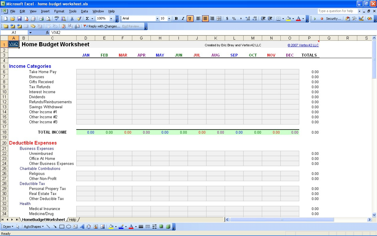 Home Budget Expenses Spreadsheet Within Spreadsheet Free Personal Budget Templatexcel Monthly