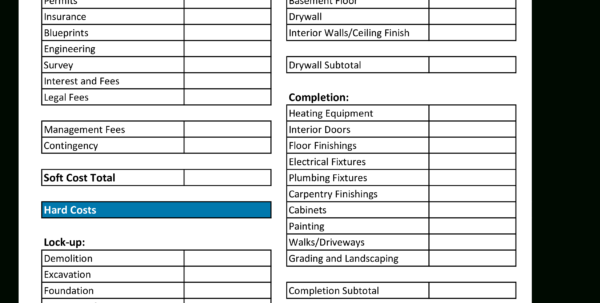 Home Building Budget Spreadsheet With Regard To Free Home Construction Budget Worksheet  Templates At