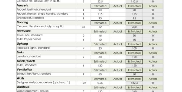 Home Building Cost Estimator Spreadsheet Intended For Home Building Cost Estimate Spreadsheet And Bathroom Remodel