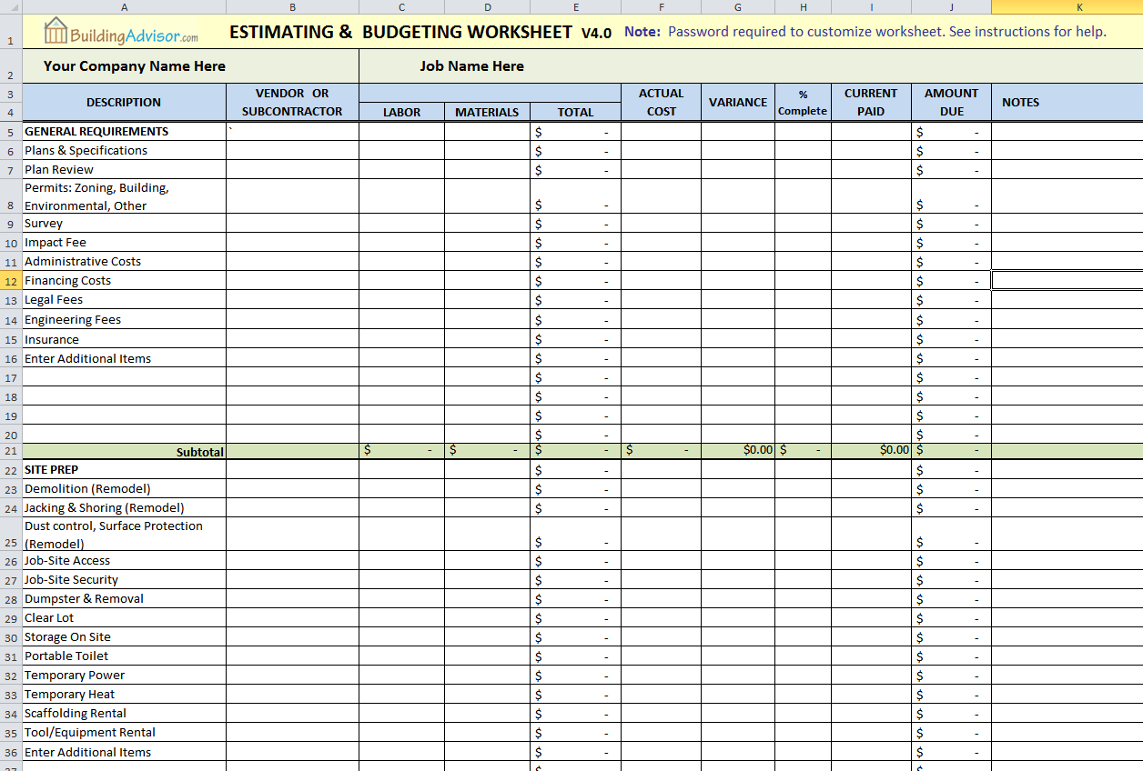 Home Building Cost Estimator Spreadsheet With Regard To Spreadsheetmated Construction Cost New House Pinterest Example Of