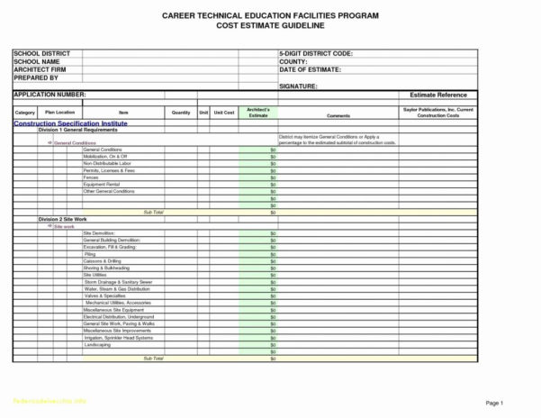 Home Building Spreadsheet Throughout Building Cost Estimator Spreadsheet Construction Estimating Unique
