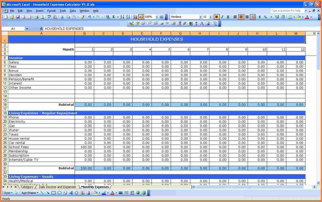 Home Buying Expenses Spreadsheet Intended For Home Budgeting Spreadsheet And Personal Bud Excel Spreadsheet New