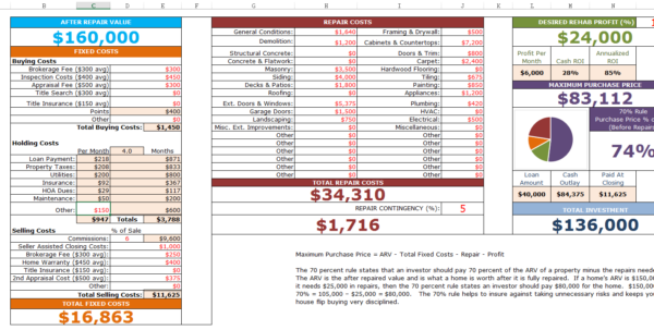 Home Buying Expenses Spreadsheet With Fixnflip Rehab Analyzer For Excel Home Buying Expenses Spreadsheet Spreadsheet Download