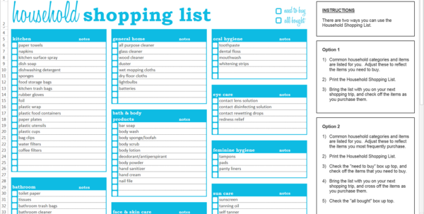 Home Buying Spreadsheet Template Inside Household Shopping List  Excel Template  Savvy Spreadsheets