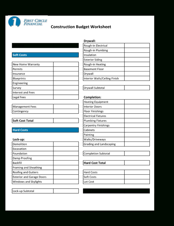 Home Construction Budget Spreadsheet Pertaining To Free Home Construction Budget Worksheet  Templates At