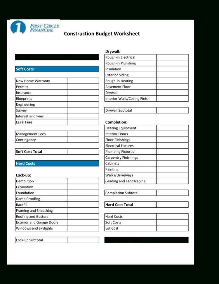 Home Construction Budget Spreadsheet pertaining to Free ...