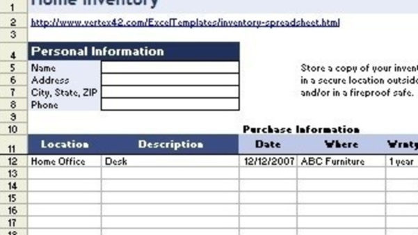 Home Contents Insurance Calculator Spreadsheet Pertaining To Best Home Inventory Tool: Spreadsheets