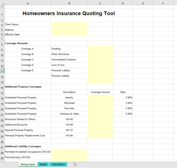 Home Contents Insurance Calculator Spreadsheet Pertaining To Insurance Spreadsheets Rating Quoting