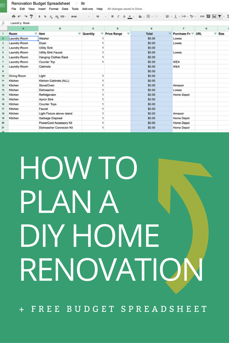 Home Improvement Spreadsheet For How To Plan A Diy Home Renovation   Budget Spreadsheet