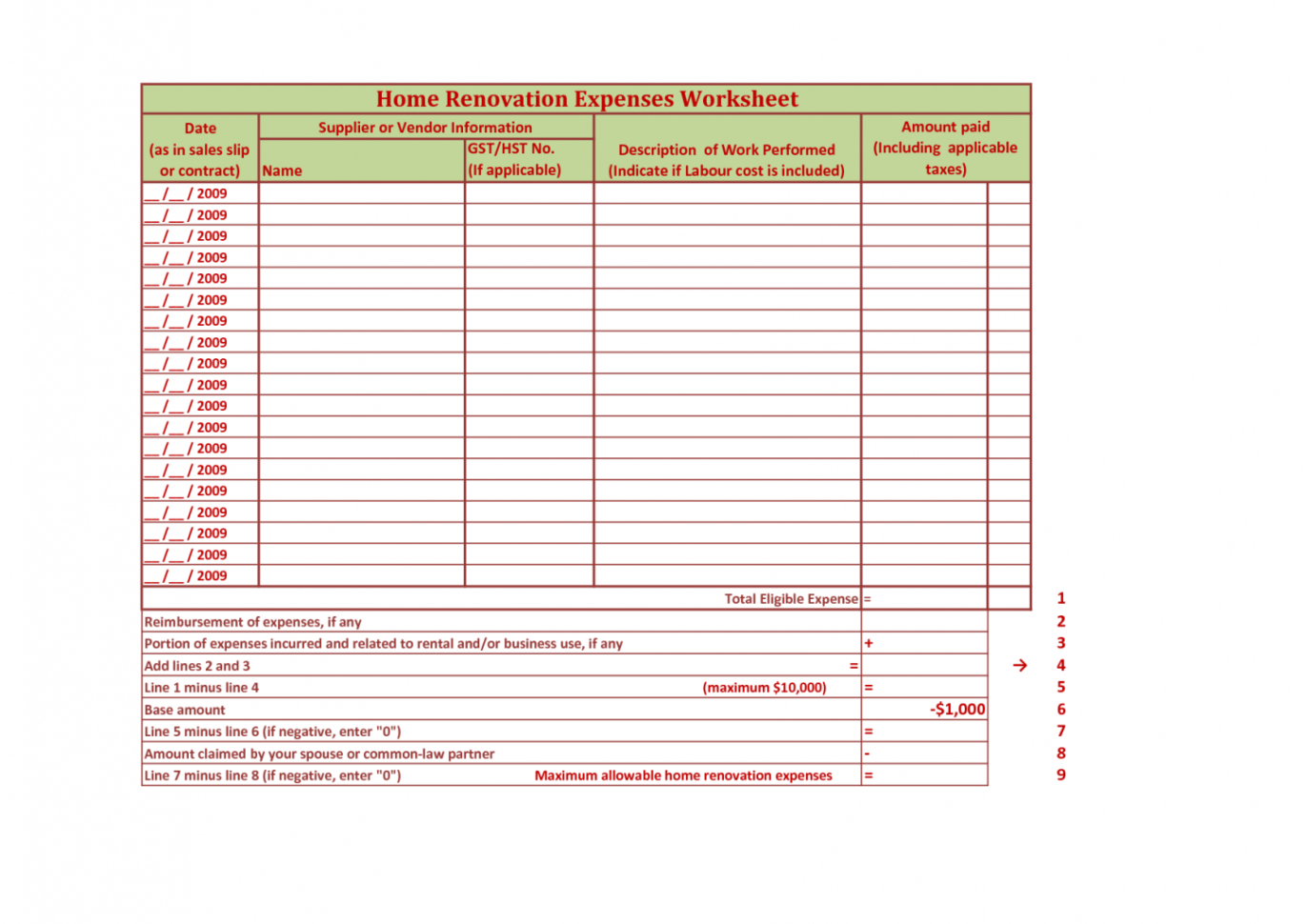 Home Improvement Spreadsheet Throughout Home Improvement Spreadsheet Renovation Spreadsheet Template