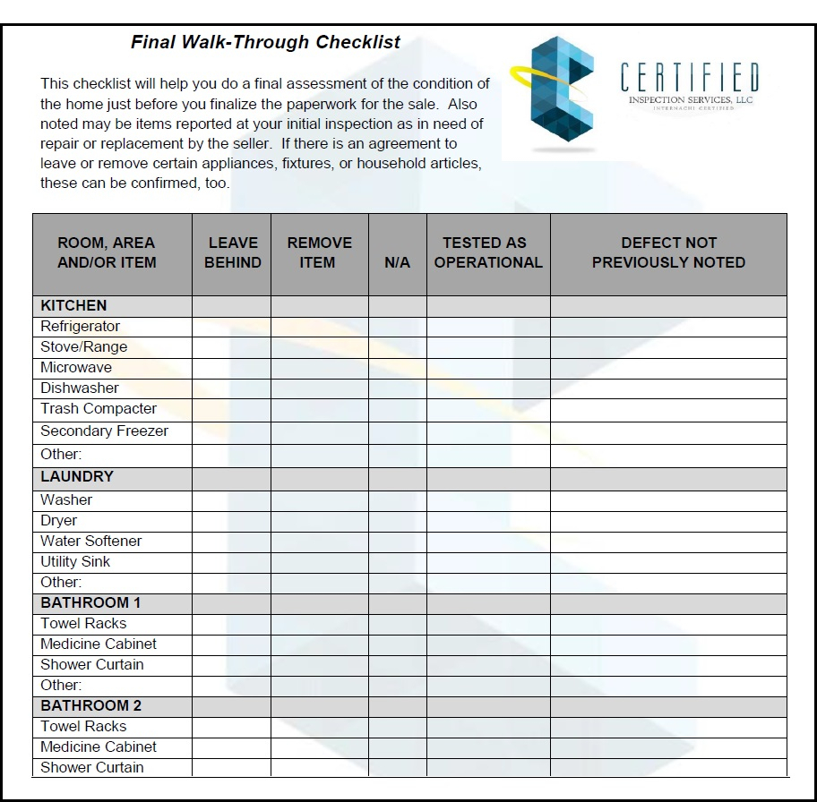 Home Inspection Checklist Spreadsheet Throughout Final Walk Through Checklist Template Home Inspection Checklist