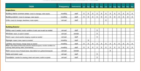 Home Maintenance Schedule Spreadsheet Inside Home Maintenance Schedule Spreadsheet  Nurul Amal