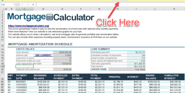 Home Mortgage Amortization Spreadsheet Pertaining To Download Microsoft Excel Mortgage Calculator Spreadsheet: Xlsx Excel