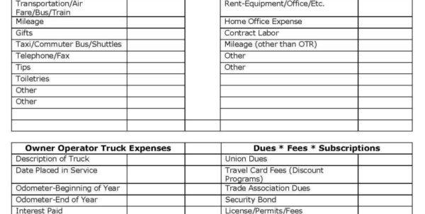 Home Office Expense Spreadsheet For Trucking Expenses Spreadsheet Business Expense Trucker Invoice