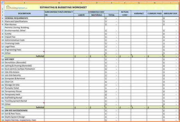 Home Renovation Budget Excel Spreadsheet In Home Renovation Budget Excel Spreadsheet  Spreadsheet Collections