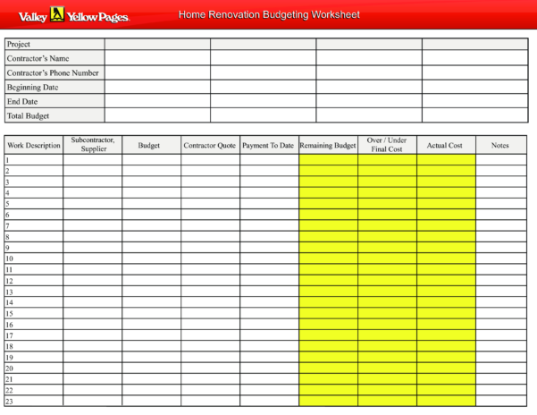 Home Renovation Budget Spreadsheet Throughout Free Home Renovation Budget Worksheet  Templates At