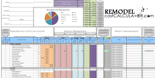 Home Renovation Cost Spreadsheet With Home Improvement Spreadsheet Home Renovation Budget Spreadsheet