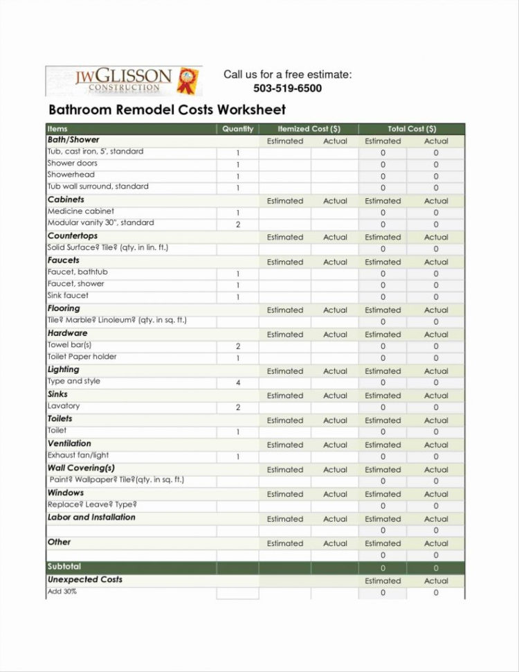 Home Renovation Cost Spreadsheet Within Home Renovation Estimate Template Remodel Cost Spreadsheet New