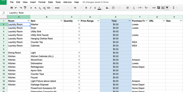 Home Renovation Planning Spreadsheet Throughout How To Plan A Diy Home Renovation   Budget Spreadsheet