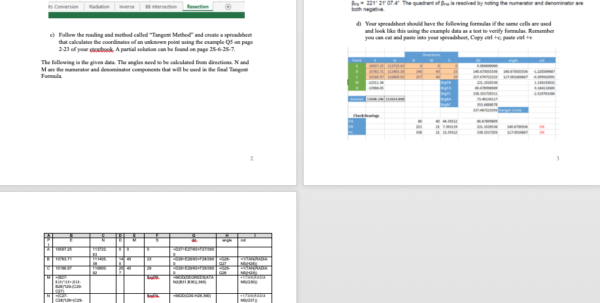 Homework Spreadsheet With Homework Seven 3 Point Resection Data 1 Stn N M   Chegg