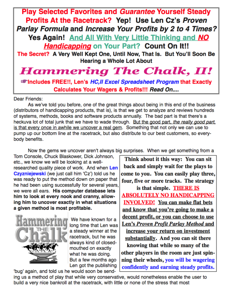 Horse Racing Analyser Spreadsheet Pertaining To Hammering The Chalk, Ii!! A Guaranteed Profit Method Using Place