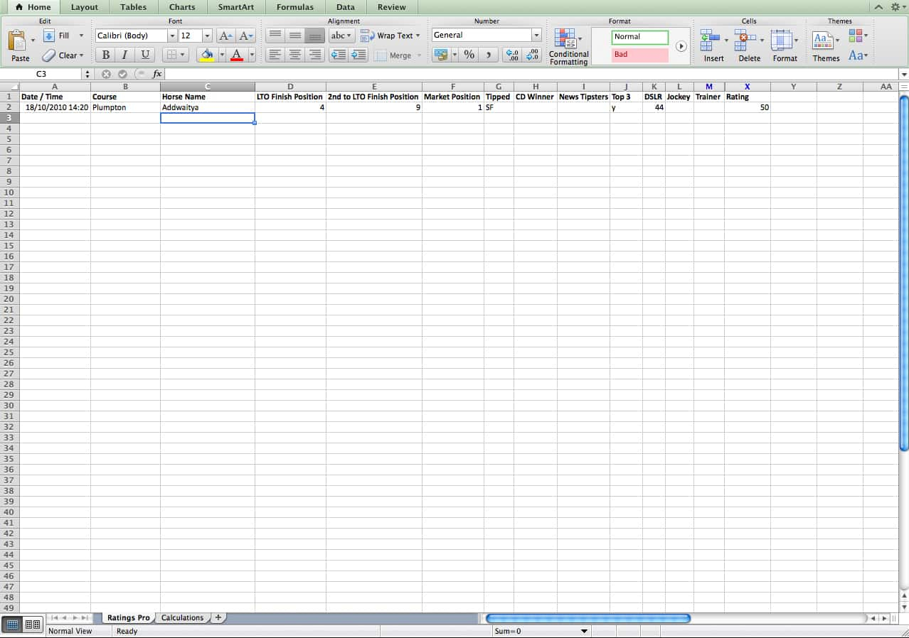 Horse Racing Form Spreadsheet With Race Advisor Members