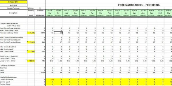 Hotel Forecasting Spreadsheet With Datavision Bi For Hospitality