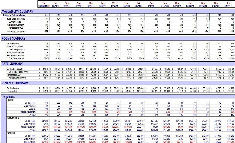 Hotel Room Occupancy Spreadsheet For Datavision Bi For Hospitality