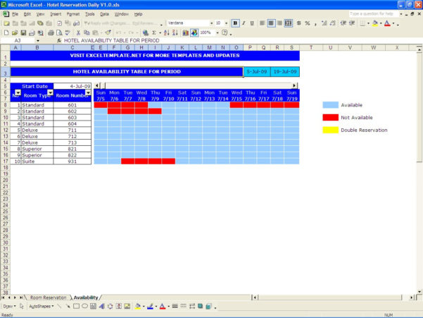 Hotel Room Occupancy Spreadsheet Inside Hotel Reservations  Excel Templates