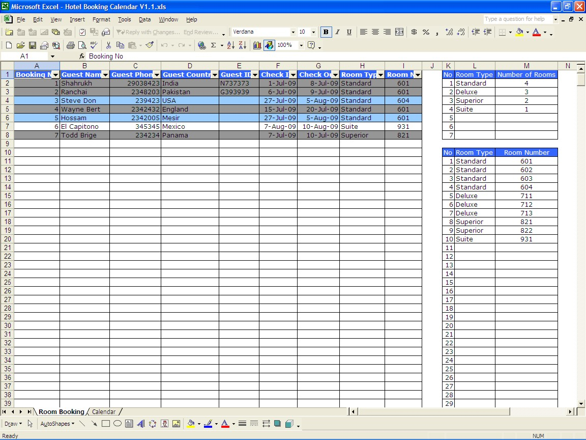 Hotel Room Occupancy Spreadsheet With Regard To Booking Calendar  Excel Templates