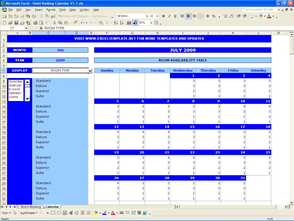 Hotel Spreadsheet Excel Regarding Booking Calendar  Excel Templates