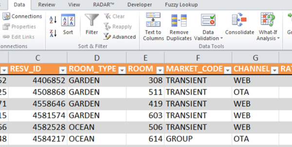 Hotel Spreadsheet Excel With Excel For Hotel Data Analytics  Hospitality Revenue Analytics