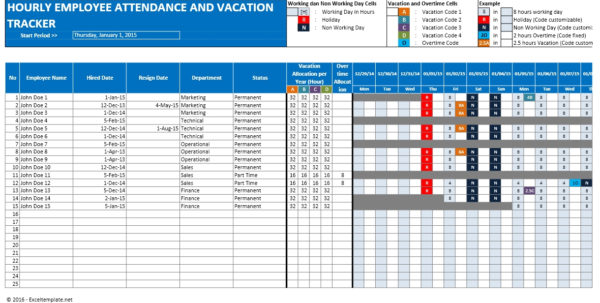 Hour Tracker Spreadsheet For Employee Vacation Planner
