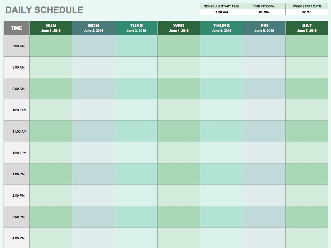 Hourly Spreadsheet For Free Daily Schedule Templates For Excel  Smartsheet