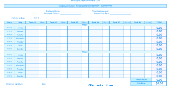 Hourly Time Tracking Spreadsheet With Biweekly Timesheet Template  Free Excel Templates  Clicktime Hourly Time Tracking Spreadsheet Spreadsheet Download