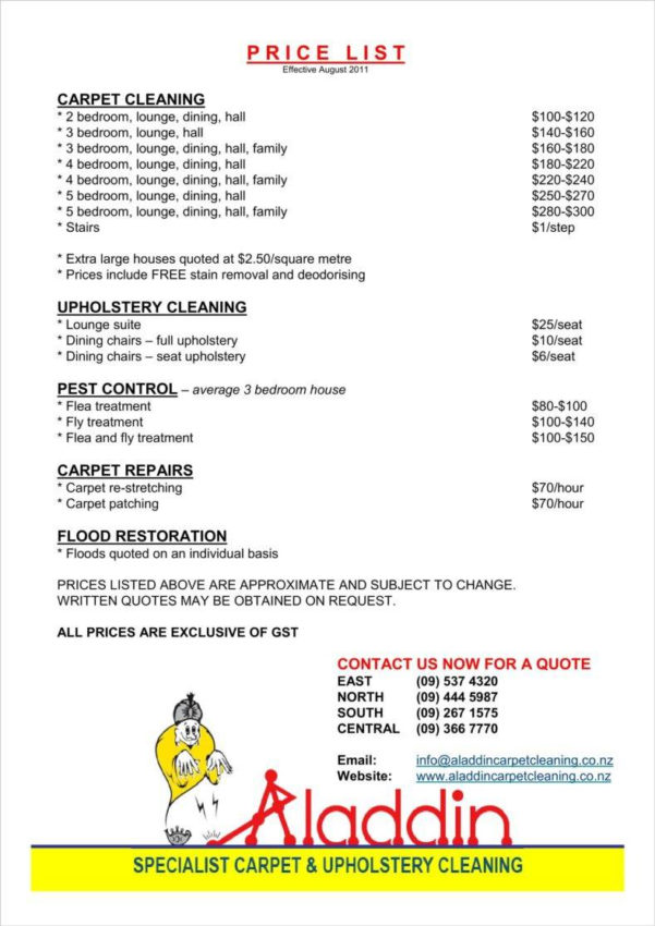 House Cleaning Pricing Spreadsheet For 8  Cleaning Price List Templates  Free Word, Pdf, Excel Format