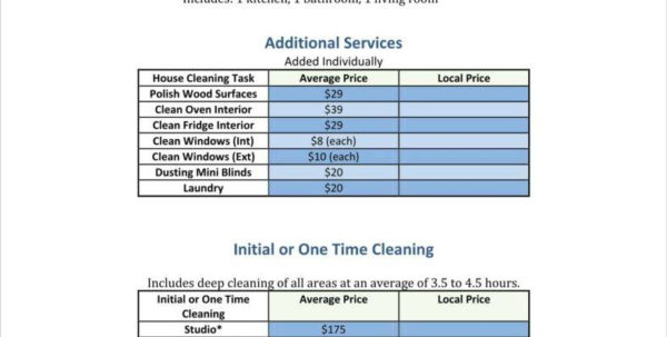 House Cleaning Pricing Spreadsheet Inside 8  Cleaning Price List Templates  Free Word, Pdf, Excel Format