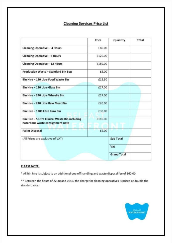 House Cleaning Pricing Spreadsheet Within 8  Cleaning Price List Templates  Free Word, Pdf, Excel Format