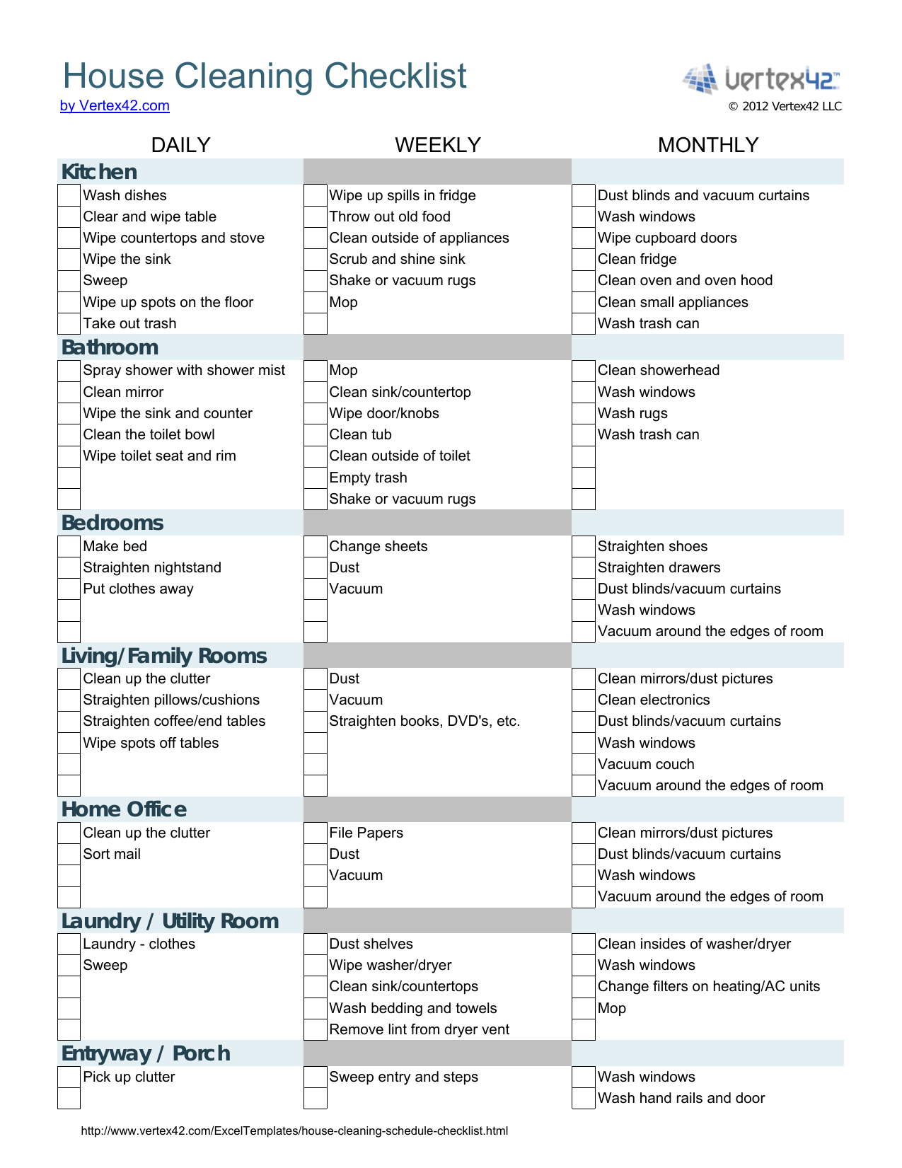 House Cleaning Spreadsheet Templates Inside Download House Cleaning Checklist Template  Excel  Pdf  Rtf