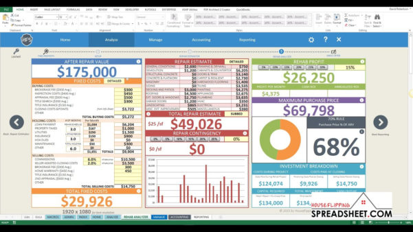 House Flip Spreadsheet Excel Inside Real Estate Flip Spreadsheet For How To Create An Excel Spreadsheet